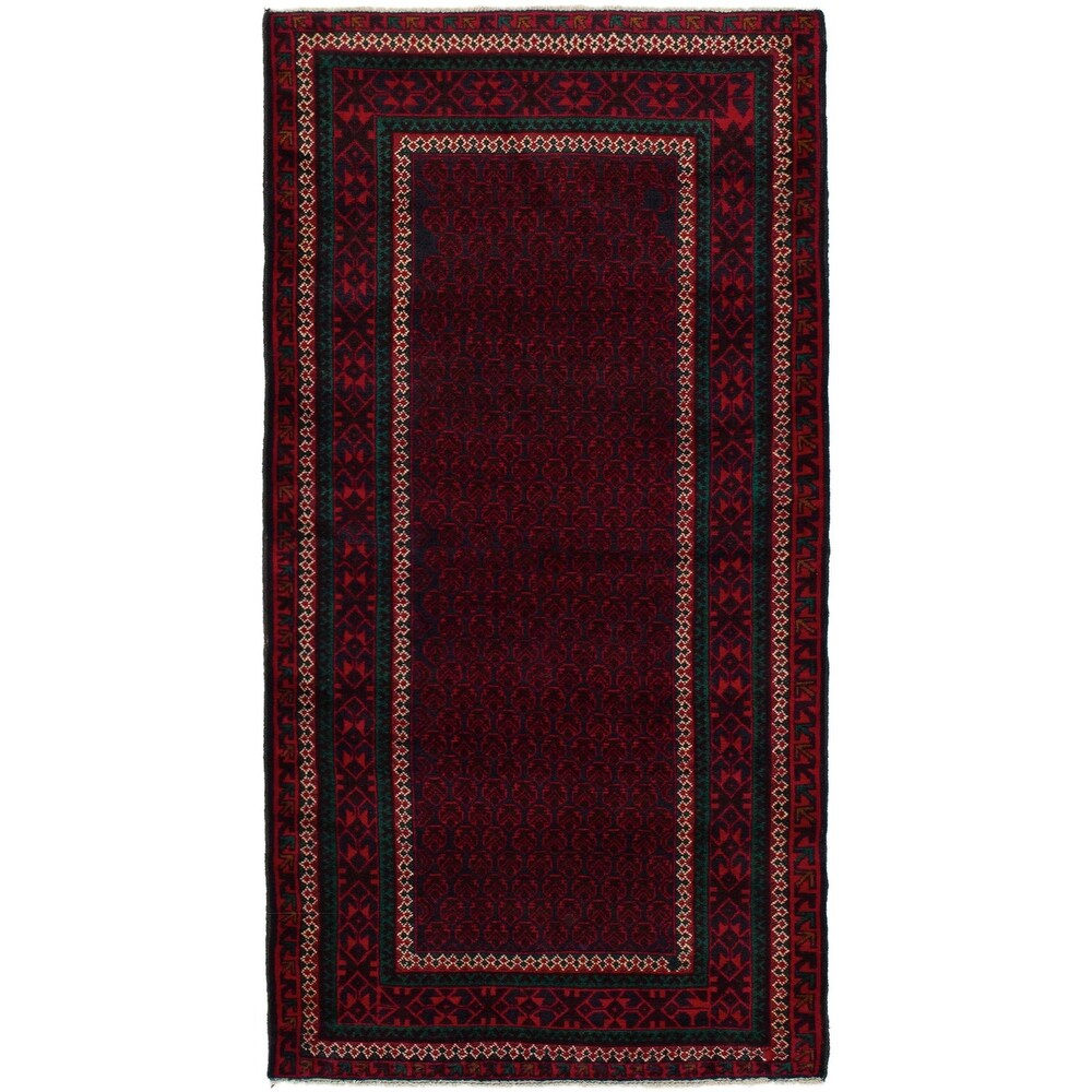 ECARPETGALLERY Hand-knotted Rizbaft Red Wool Rug - 2'10 x 6'3 (Red - 2'10 x 6'3)