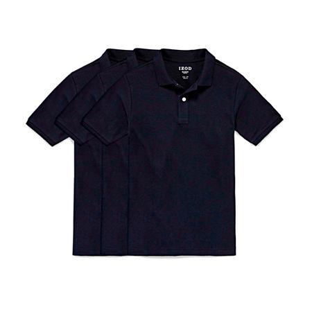 IZOD 3-Pk Bundle Little & Big Boys Short Sleeve Stretch Polo Shirt, Large (14-16) , Blue