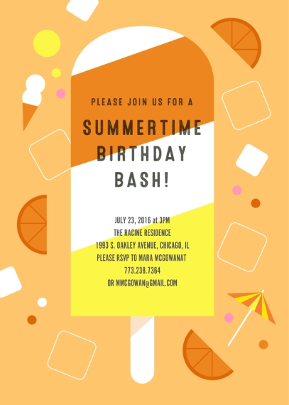 Kids Birthday Party 5x7 Cards, Premium Cardstock 120lb, Card & Stationery -Summertime Bash Popsicle Invitation
