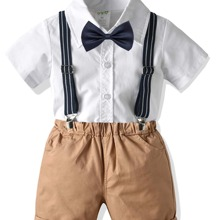 Toddler Boys Bow Front Button Up Shirt & Suspender Shorts