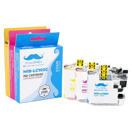 Compatible Brother MFC-J875DW Colour Ink Cartridges C/M/Y Combo by Moustache, 3 pack - High Yield