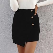 Button Front Asymmetrical Skirt