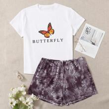 Plus Butterfly Print Tee & Tie Dye Shorts PJ Set