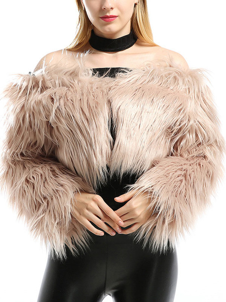 Milanoo Faux Fur Coat Bateau Neck Long Sleeves Artificial Wool Open Shoulder Woman's Fur Leather Coat