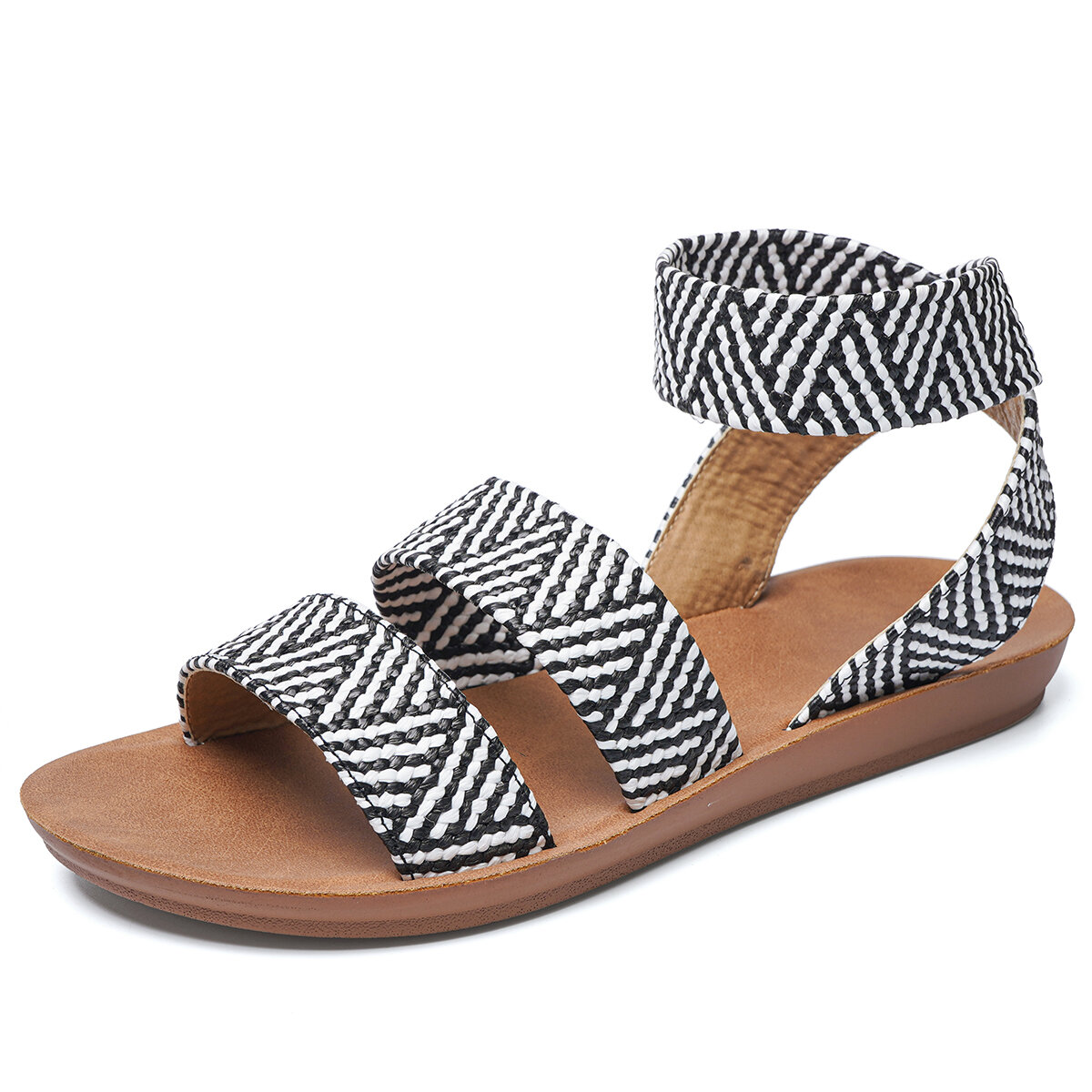 Women Opened Toe Knitted Slip On Casual Flat Sandals