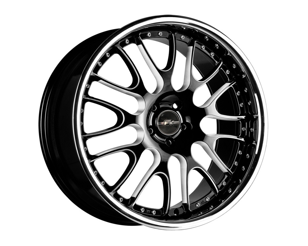FK Ethos LX992260003 LX-99 Black CNC Machined w/Stainless Chrome Lip Wheel 22x10.5 5x115 25