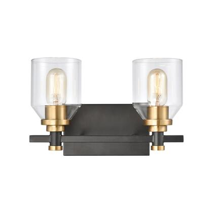 15401/2 Cambria 2-Light Vanity Light in Matte Black with Clear