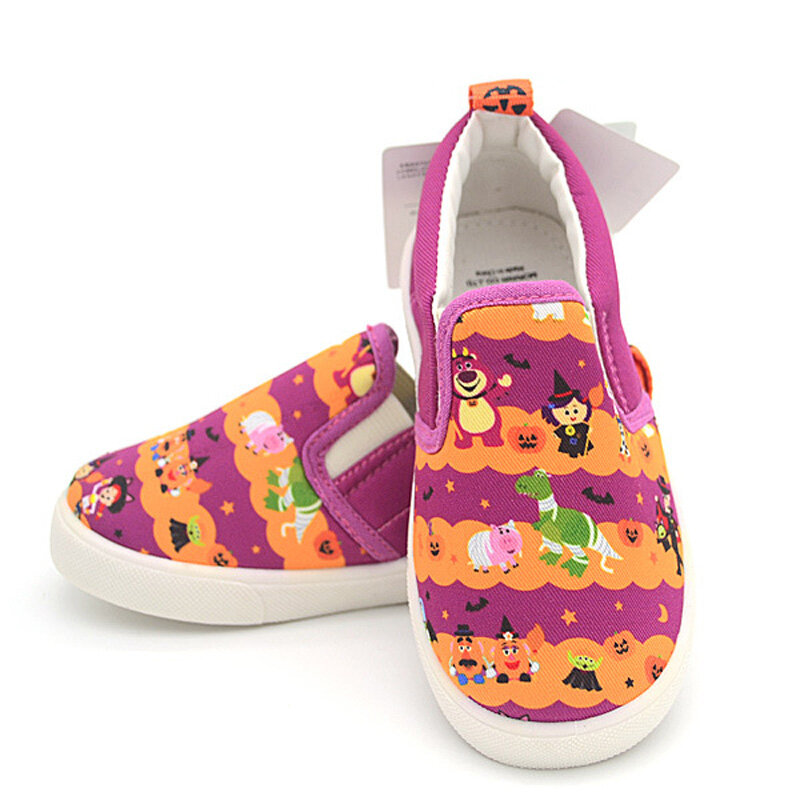 Unisex Kids Halloween Pattern Soft Sole Comfy Slip On Canvas Shoes