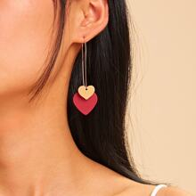 Double Heart Detail Drop Earrings 1pair