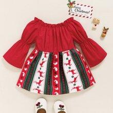 Baby Girl Christmas Print Bardot Smock Dress