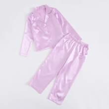 Satin Schlafanzug Set mit Revers Kragen und Knopfen vorn