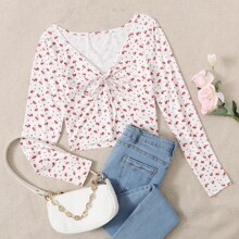 Tie Front Ditsy Floral Print Tee