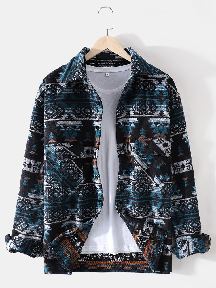 Mens Ethnic Pattern Print Lapel Brushed Casual Shirts With Pocket