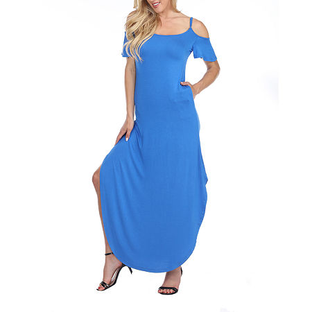White Mark Lexi Short Sleeve Maxi Dress, Large , Blue