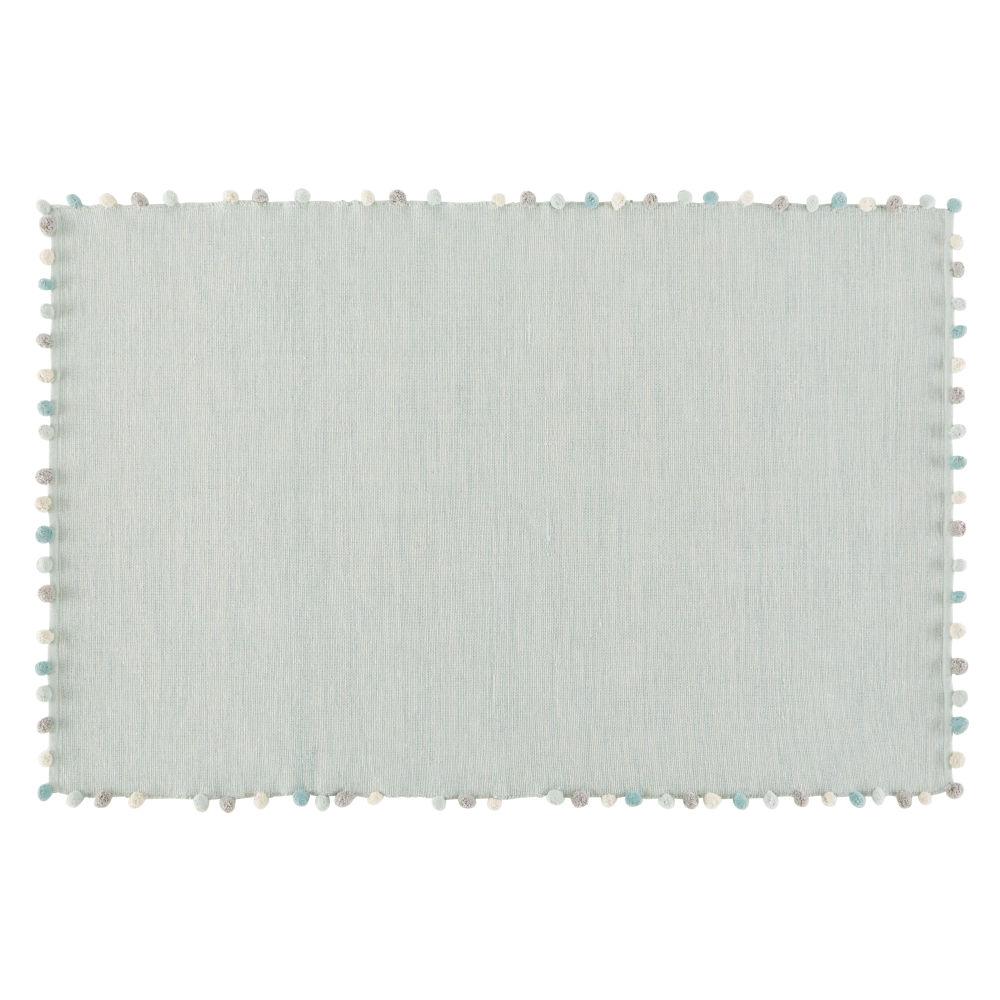 Baumwolldecke mit Quasten, gruen 120x180