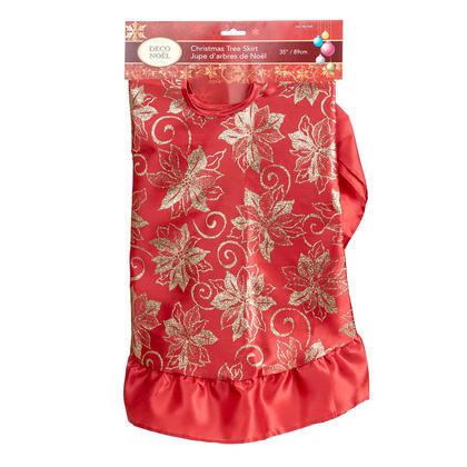 Christmas Tree Skirt Glitter Deluxe Traditional Theme Festive Holiday Design 35