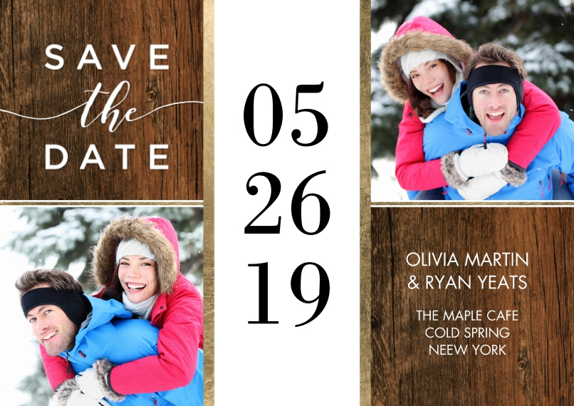 Save the Date 5x7 Cards, Premium Cardstock 120lb with Rounded Corners, Card & Stationery -Save the Date Bold Date