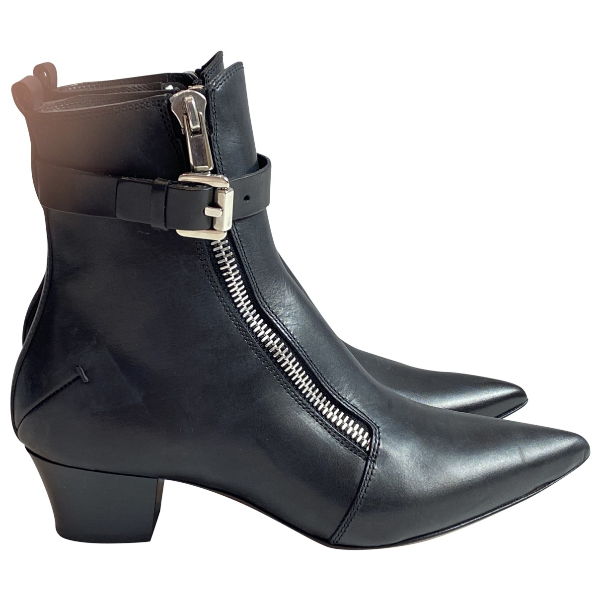 Costume National \N Black Leather Ankle boots for Women 37.5 EU