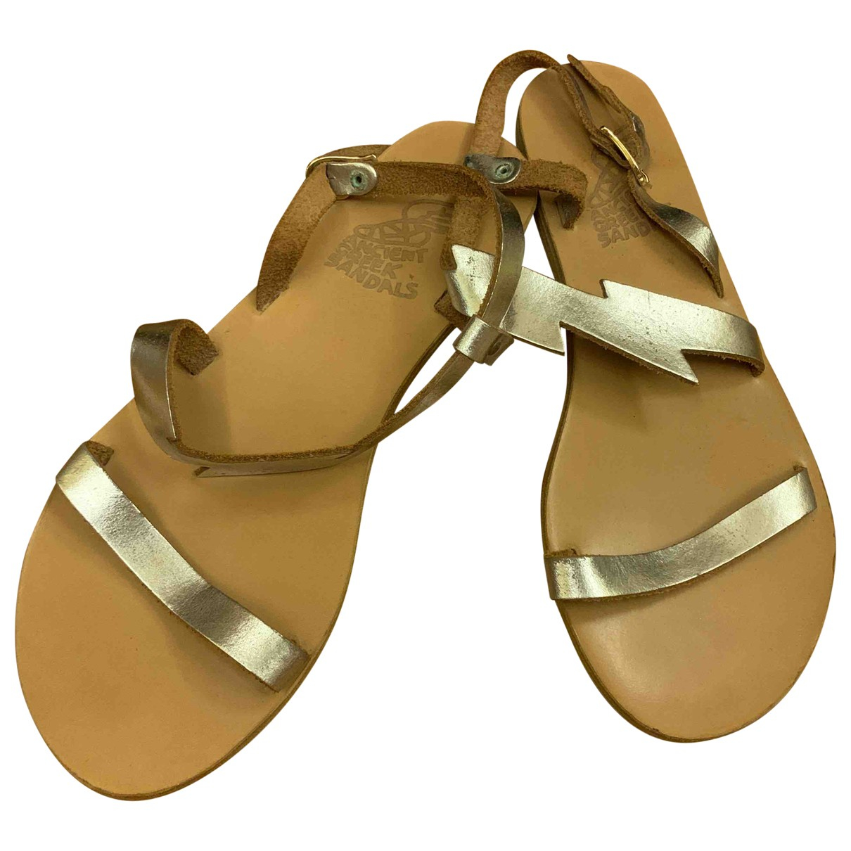 Ancient Greek Sandals \N Silver Leather Sandals for Women 39 EU