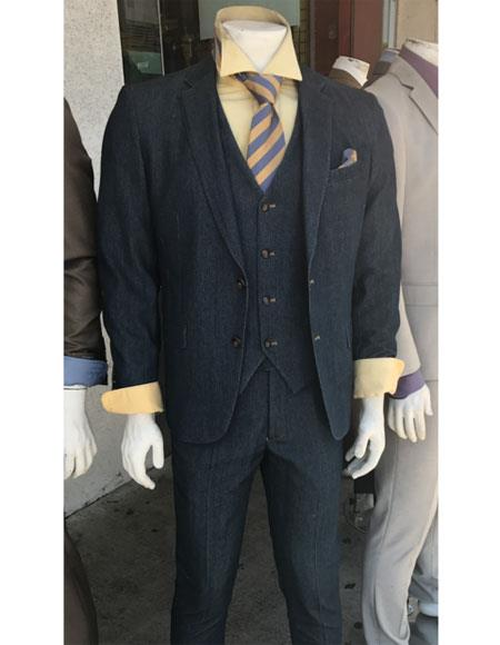 Denim 2 Button Suit Vested Notch Lapel Flat Front Pants