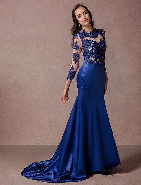 Milanoo Encaje vestido de noche manga larga azul satinado sirena sin espalda Vestido de fiesta de novia