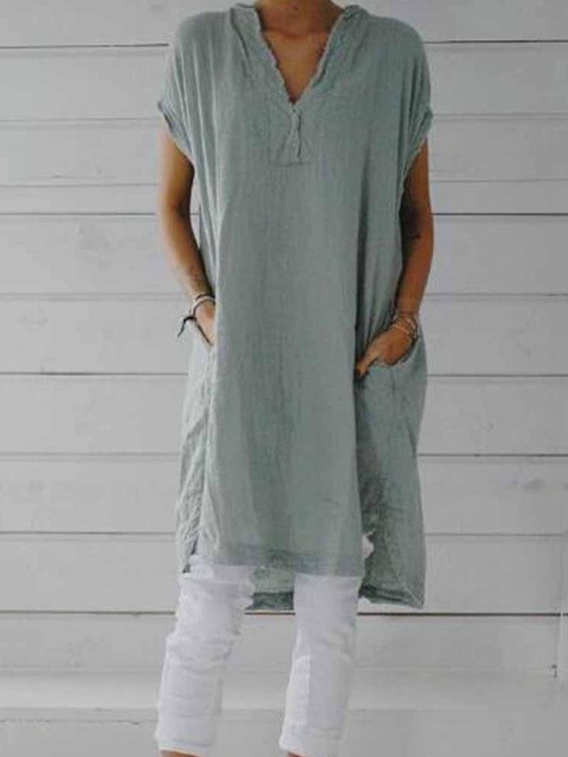 Ericdress Mid-Length Short Sleeve Plain Straight Casual T-Shirt