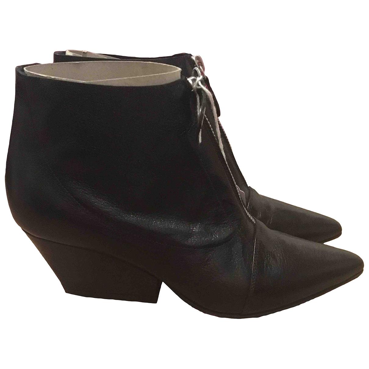 Lella Baldi \N Black Leather Ankle boots for Women 37 EU