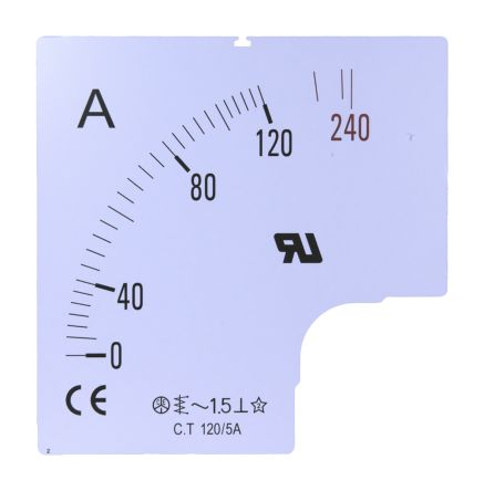 RS PRO Meter Scale, 150A, for use with 96 x 96 Analogue Panel Ammeter
