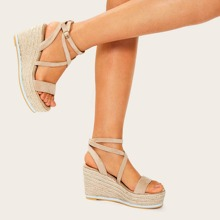 Open Toe Cross Strap Espadrille Wedges