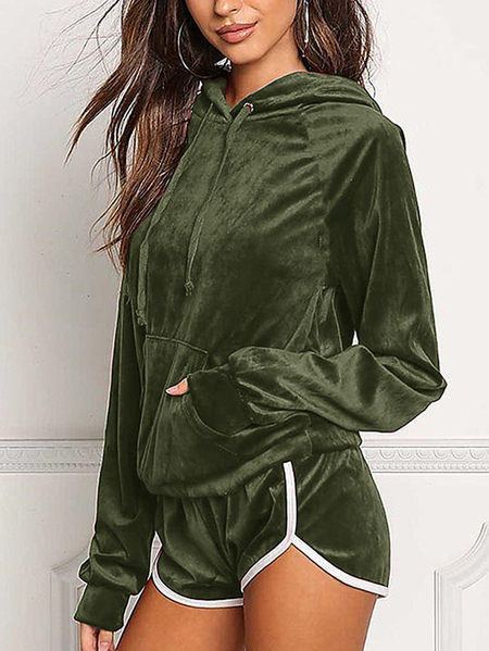 Yoins Active Hooded Design Elastic Tracksuit in Amry Green