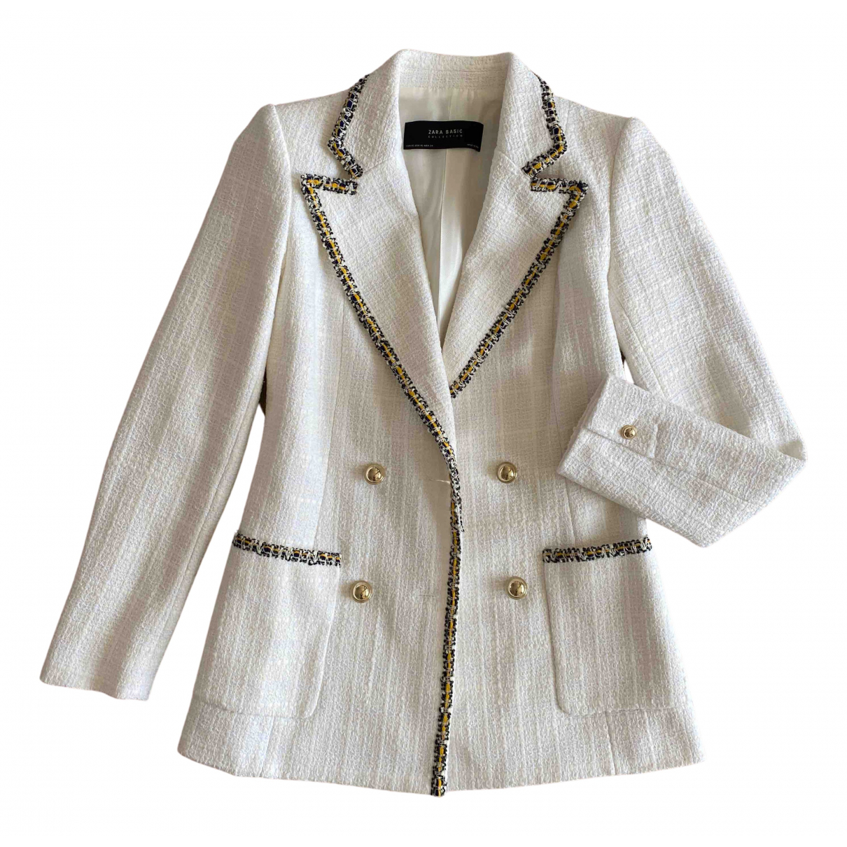 Zara - Veste   pour femme en tweed - blanc