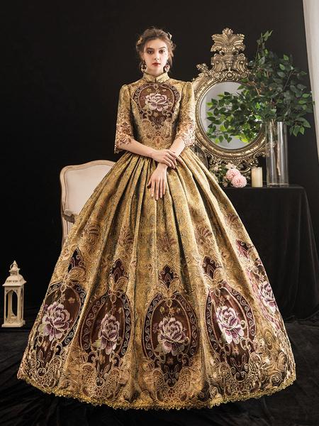 Milanoo Victorian Dress Costumes Women's Blonde Half Sleeves Stand Collar Victorian Era Style Marie Antoinette Costume Dress Masquerade Ball Gown