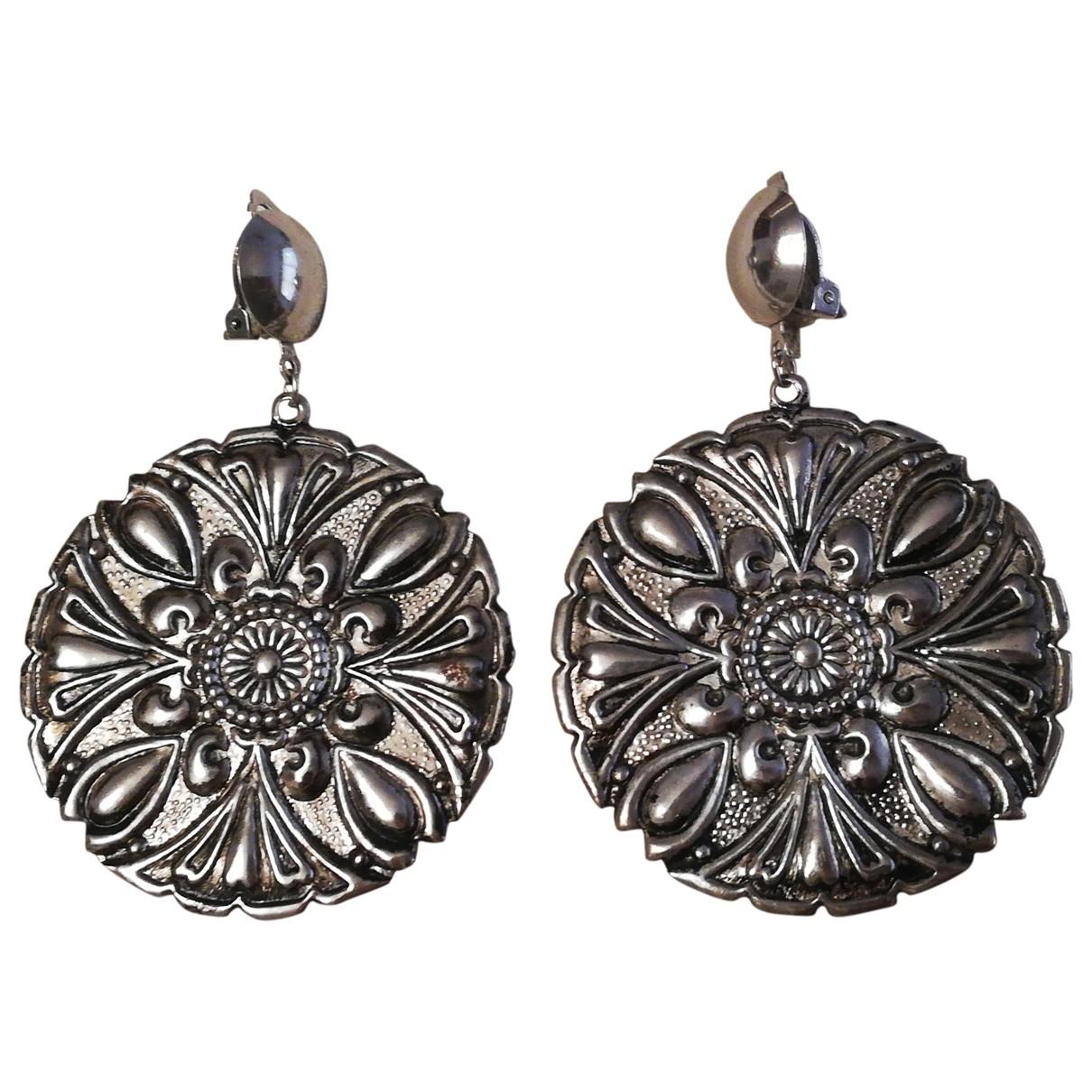 - Boucles doreilles Art Deco pour femme en metal - argente