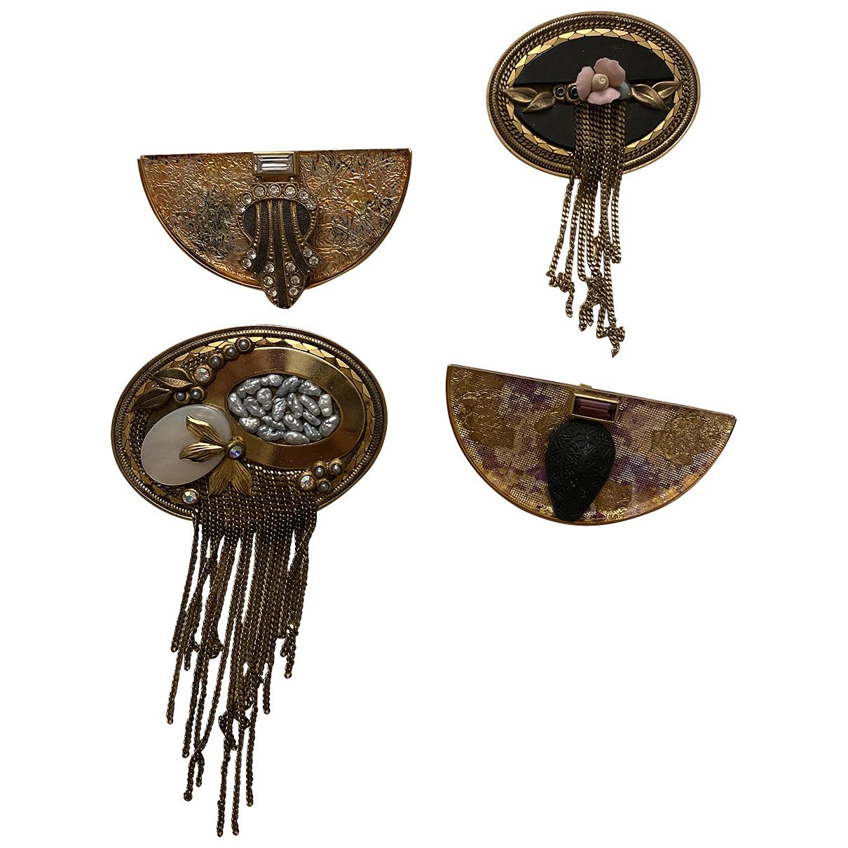 - Broche Art Deco pour femme en metal - dore
