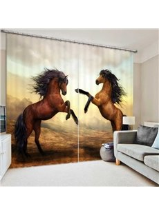 Room Darkening Thermal Insulated 3D Blackout Curtains with Standing Horse Design