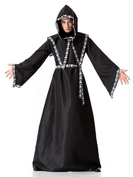 Milanoo Disfraz Halloween Disfraz Vintage Monasterio Edad Media Craneo Imprimir Disfraces Retro Negros Para Hombre Carnaval Halloween