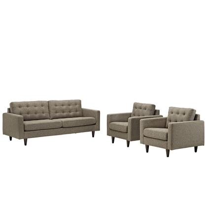 Empress Collection EEI-1314-OAT 3 PC Armchair and Sofa Set with Track Arms  Plastic Foot Glides  Solid Wood Tapered Legs and Fabric Upholstery in