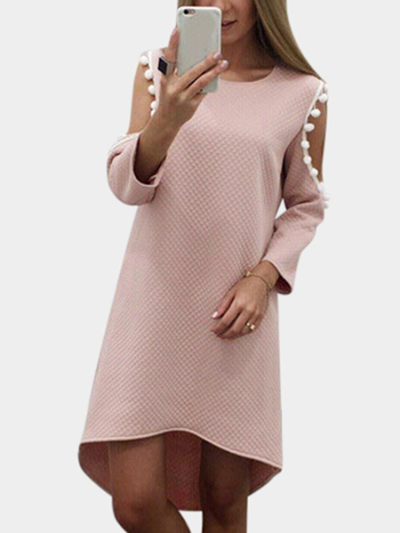 Yoins Pink Cut Out & Tassel Details Mini Dress With Curved Hem