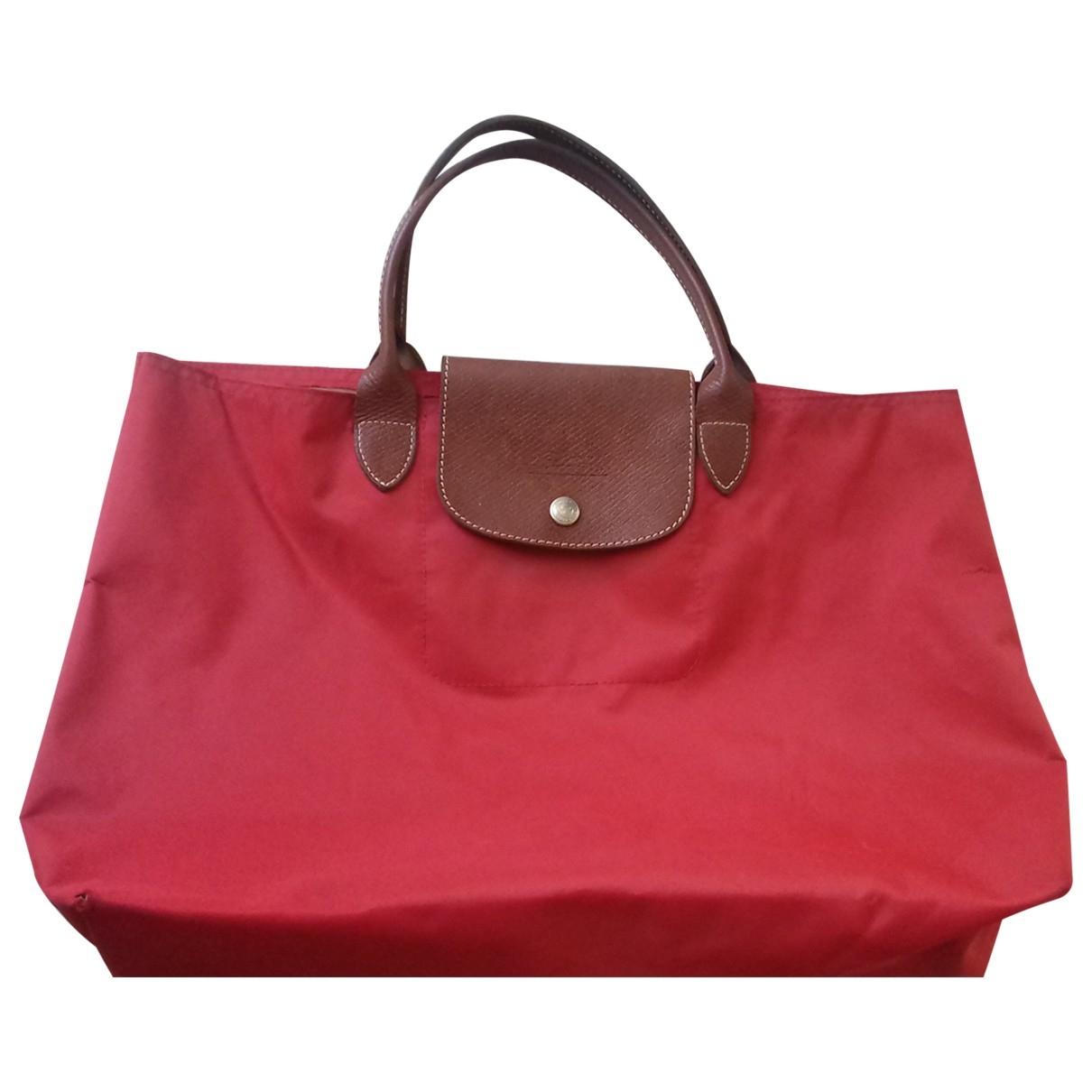 Longchamp Pliage  Handtasche in  Rot Leinen