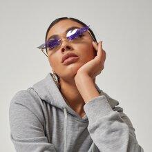Flame Shaped Lens Rimless Sunglasses