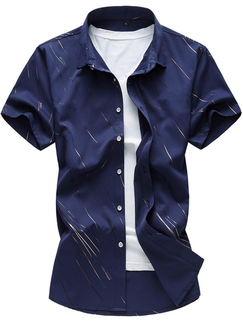 Ericdress Large Size Short Sleeve Print Men's Shirt