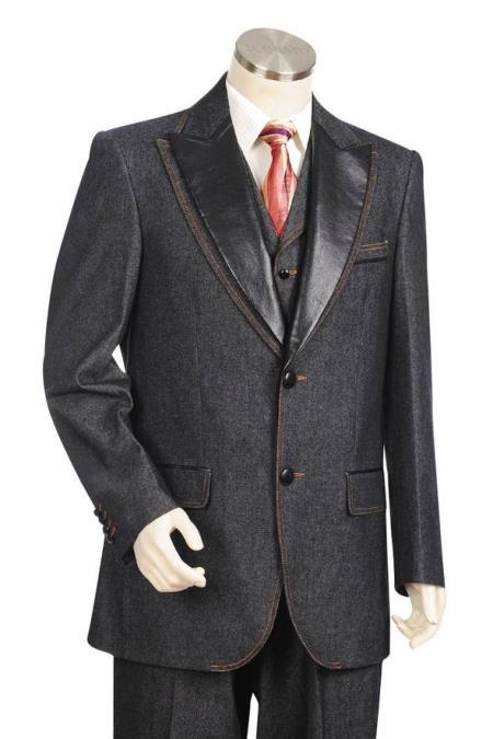 Mens Faux Leather Lapel Denim Black Peak Lapel Zoot Suit