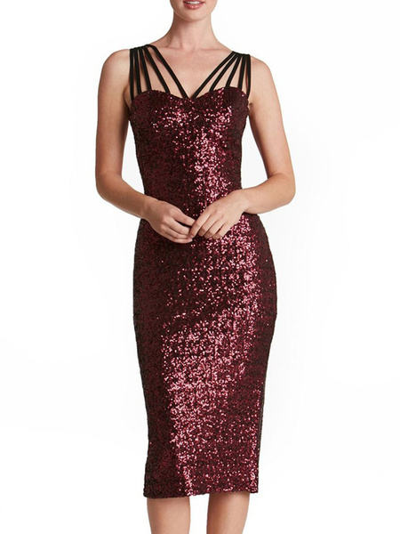 Milanoo Sequin Bodycon Dress Glitter Strappy Sleeveless Sheath Dress For Women