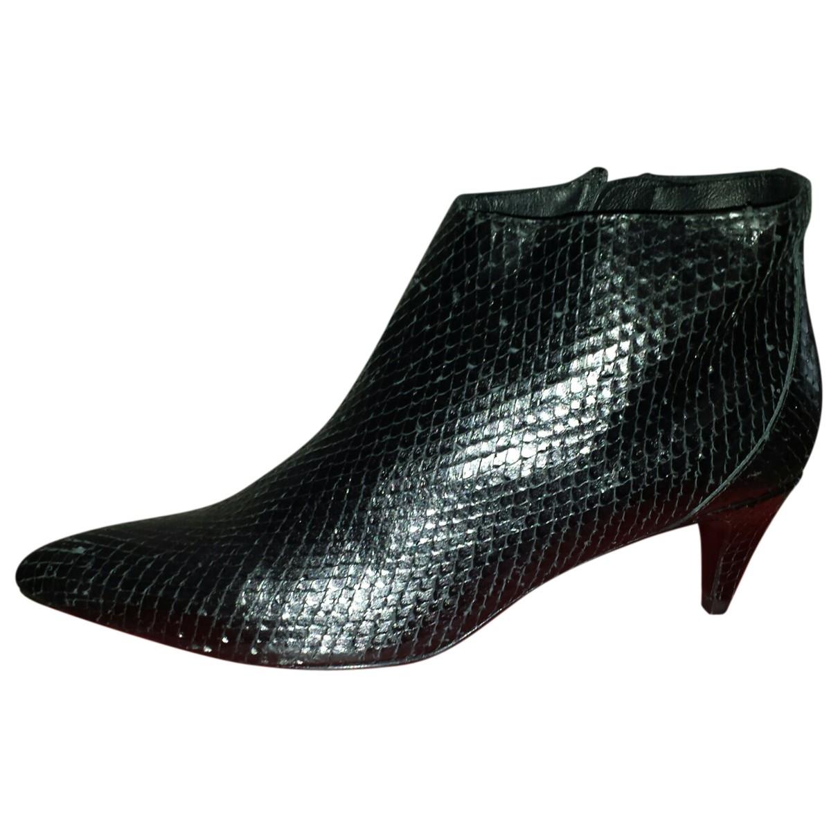 Uterque - Boots   pour femme en cuir - noir