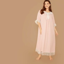 Plus Contrast Lace Detail Nightdress