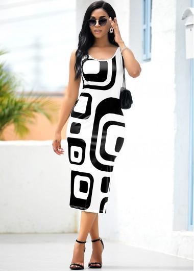Wedding Guest Dress Sleeveless Geometric Print White Bodycon Dress - XL
