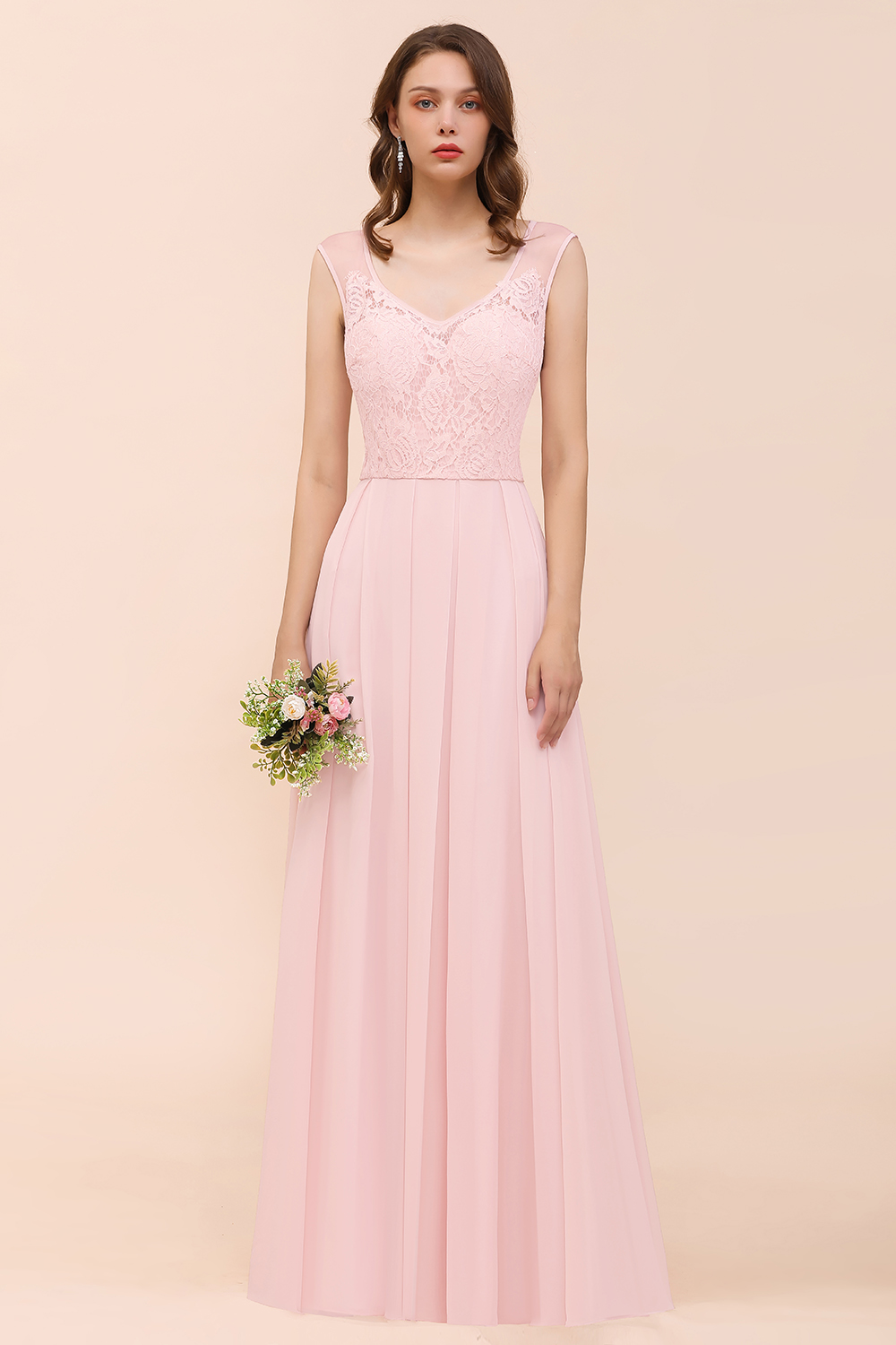 BMbridal Elegant Pink Lace Straps Ruffle Affordable Bridesmaid Dress