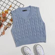 Chaleco jersey tejido de cable