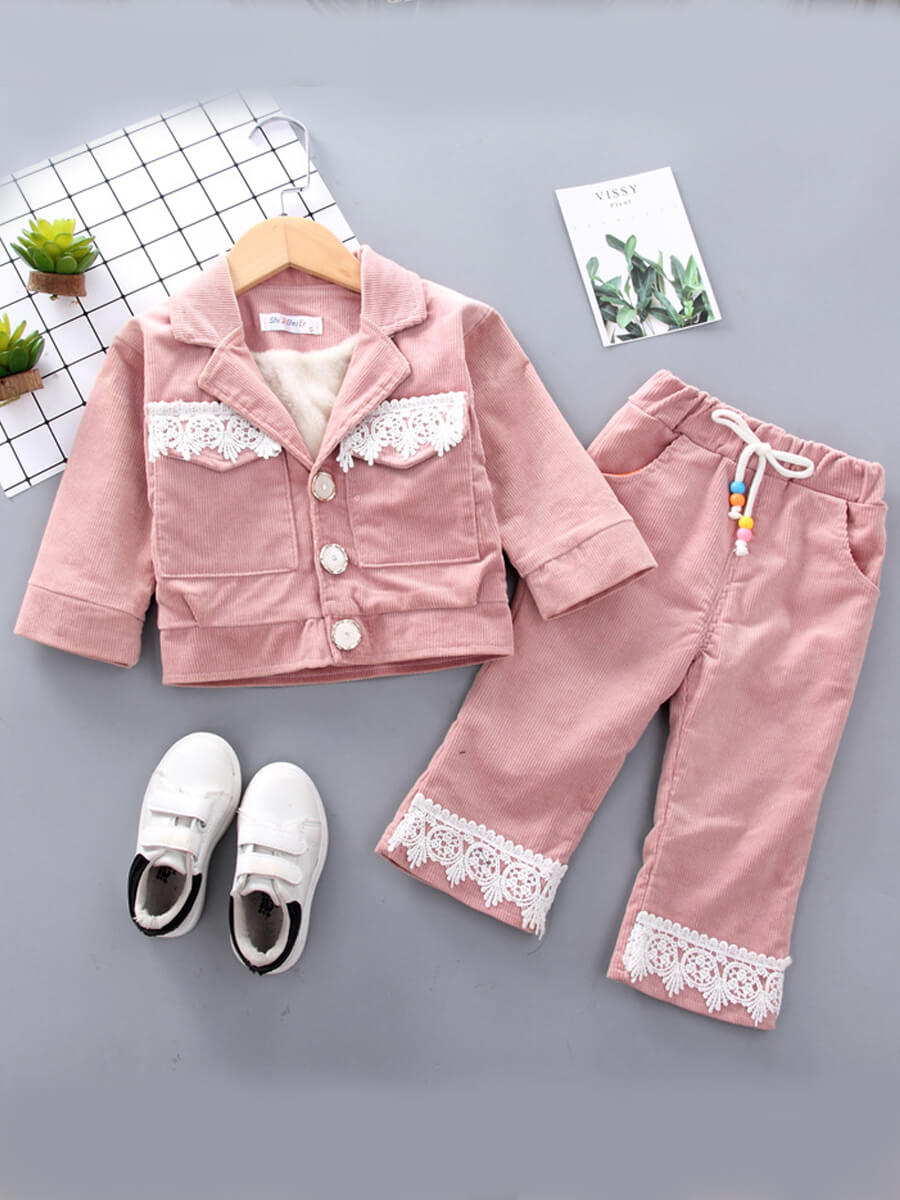 LW Lovely Trendy Shirt Collar Lace Patchwork Pink Girl Two-piece Pants Set