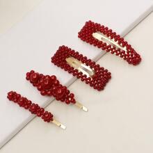 4 Stuecke Rote Haarspangen